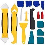 Lisseur Joint Silicone 16 Pieces Joint Calfeutrage Outils, Coulis D'étanchéité Lissage Outil Kit Rretrait Calfeutrage Outils de Scellant Finition Kit pour Salle de Bain Cuisine