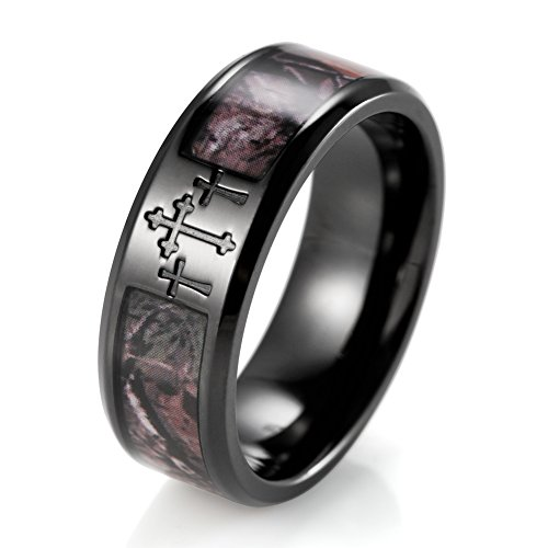 SHARDON Men's 8mm IP Black Titanium 3 Crosses Real Forest Camo Ring Size 11