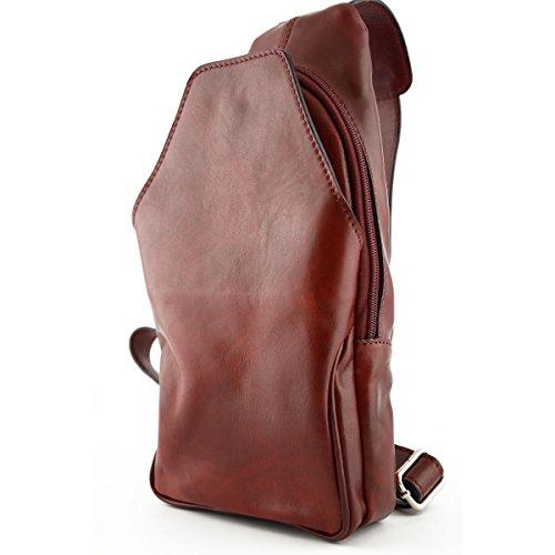 Dream Leather Bags Made in Italy Cuir VÃritable Sac à Dos Monobretelle Avec Poche Frontale Couleur Rouge - Maroquinerie Fait En Italie - Sac à Dos
