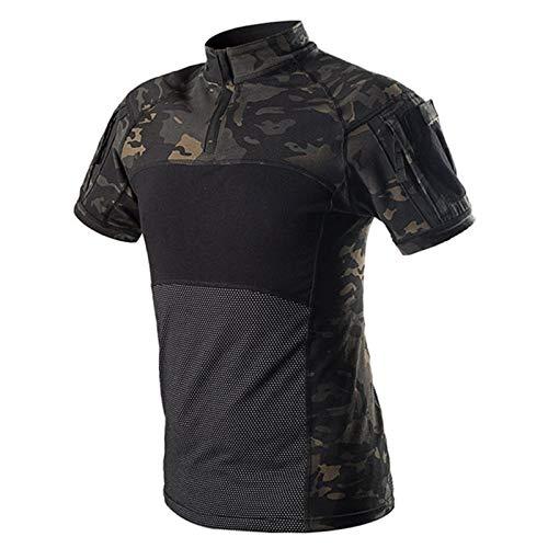 QWERBAM Ejército Táctico Uniforme Militar Camuflaje Airsoft Camisas Probado En Combate Rápido Asalto Camiseta De Manga Corta Batalla Huelga Fashion (Color : G4 Black CP, Size : M)