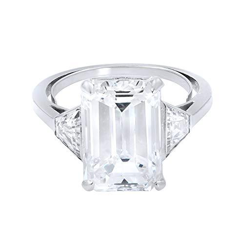Rachel Koen, Anello di fidanzamento con tre pietre di diamante con taglio smeraldo, da 5,05 ct, GIA
