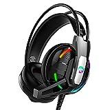 Cuffie da Gioco StereoCuffie Audio Stereo Over-Ear Pieghevoli Ruotabili Wireless da Gioco RGB da 3,5 Mm Compatibile con Le Orecchie