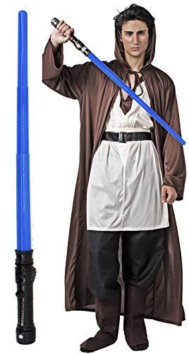 Gojoy Shop- Disfraz Completo y Sable Lser de Luke Skywalker de Star Wars para Hombres Carnaval (Contiene Espada Lser , Tnica con Capucha, Camiseta, Cinturn y Botas, Talla Unica)