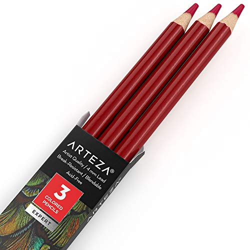Arteza Colored Pencils, Pack of 3, A025 Magenta, Soft Wax-Based Cores, Ideal for Drawing, Sketching, Shading & Coloring
