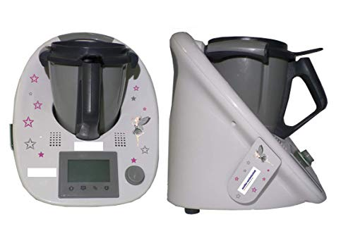Aufkleber SET passend für KINDER Thermomix + Cookkey TM 5 Fee Sterne grau lila