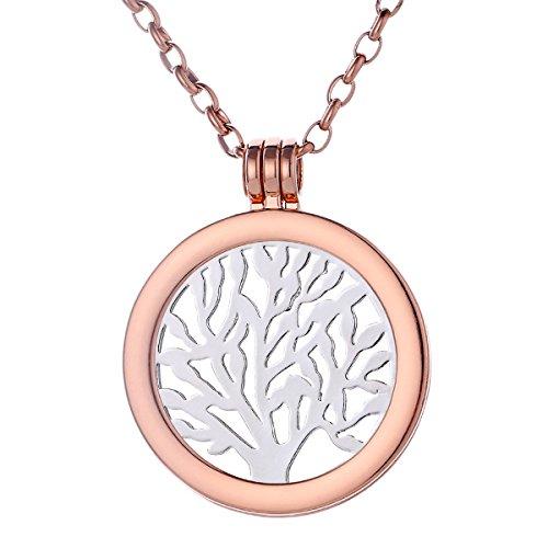 Morella Damen Halskette Rosegold 70 cm Edelstahl mit Amulett und Coin 33 mm Baum des Lebens Silber in Schmuckbeutel