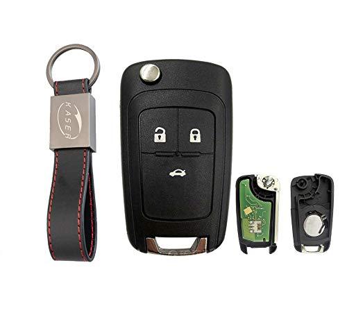 kaser Llave Mando Coche para Opel con Tarjeta Electrónica 3 Botones para Astra Corsa C Meriva Tigra Combo (433MHZ ID46) Transponder con Llavero KASER
