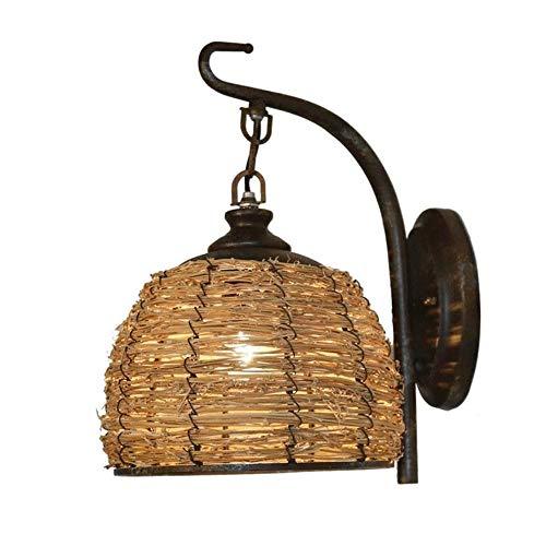Big Shark wandlamp restaurant Aisle lantaarn cage buitenwandlamp handgemaakte bamboe rotan wandlamp vintage ijzeren houder rustieke wandlamp