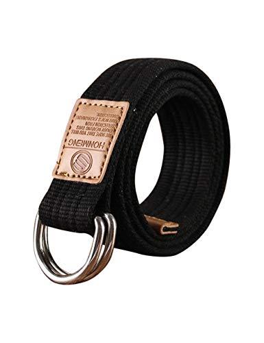 Canvas Riemen Singelband Dubbele D-ring Gesp Webriem met Metalen Punt Effen kleur Ademende Sportriem Voor Heren/Dames/Junior
