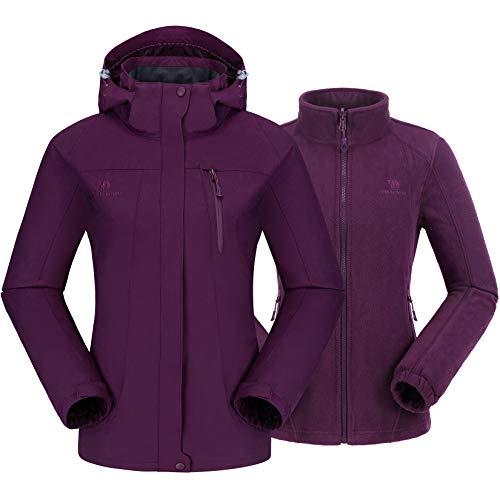CAMEL CROWN Damen 3 in 1 Jacke mit Fleece Jacke Wasserdicht Winddicht Warm Winterjacke Doppeljacke Outdoor Regenjacke Funktionsjacke, Dunkellila, L
