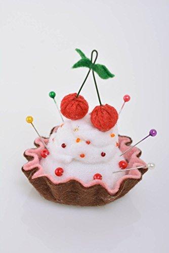 Beautiful homemade felt fabric soft pin cushion Cake with Cherries craft supply