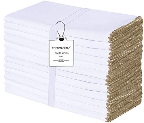 Baumwolle-Klinik 50x50 cm 12er-Set Stoffservietten, Klassisch Servietten Hochzeit, 100% Baumwolle Servietten Maschinenwaschbar - Beige Weiss