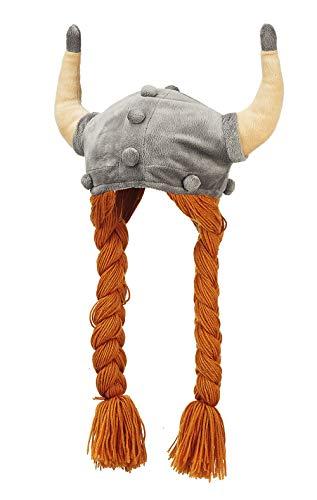 Plüsch Mütze Wikinger Helm mit Zöpfen 55 cm