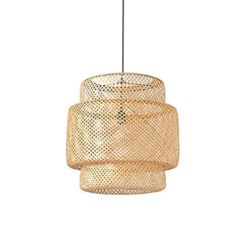 wangch Estilo Chino Retro Linterna de bambú Lámpara Colgante Sala de Estar Dormitorio Techo Lámpara Colgante E27 Lámpara de bambú de una Sola Cabeza Bar Restaurante Decoración Creativa Pantalla
