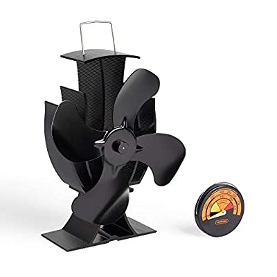VonHaus 4 Blade Stove Fan – Heat Powered Fan for Wood/Log Burners or Fireplace – Quiet Design – Thermometer Included – Circulates Warm/Heated Air – Eco-Friendly and Economical – 150-190 CFM