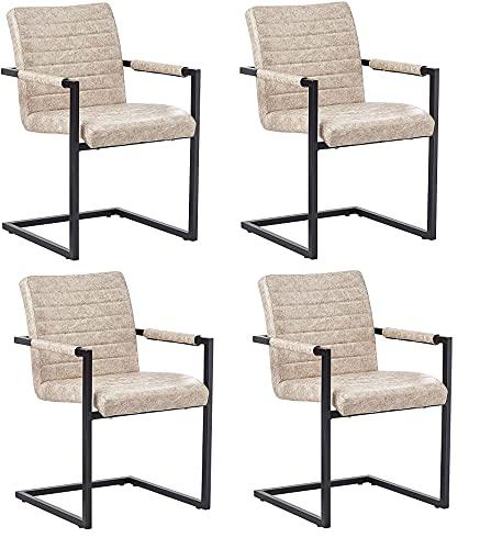 SAM 4er Set Esszimmerstuhl Parzivo, Kunstlederbezug beige, Armlehnstuhl im Industrial-Stil, Schwingstuhl mit Eisen-Fuß