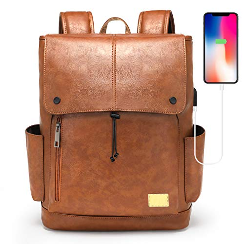 Leather Backpack for Women Men, 15.6 Inches Laptop Bookbag with USB Charging Port, Vintage Daypack with Drawstring Closure, Brown