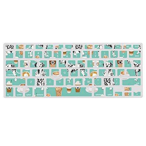 Dalmatians Cute Mint Coffee Best Dalmatian Dog Print Ultra Thin Silicone Laptop Keyboard Cover Skin Protector Keypad Dust-Proof Membrane for A1466 Apple MacBook (13.3Inch)