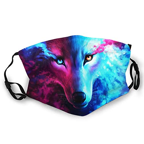 WLYDYS Wolf Art Halloween Adult Dual Front Dustproof Protective Masks Face Mask Mouth Mask Mouth Cover Scarf Mask Camping/Outdoor Washable and Reusable Waterproof for Women
