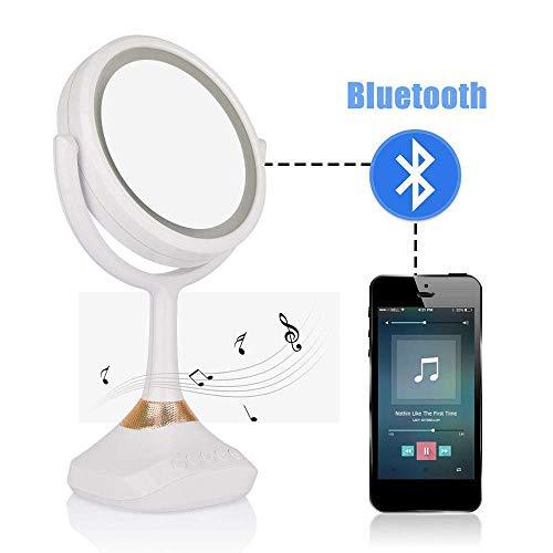 LIUJIE Bluetooth Lautsprecher Kosmetikspiegel mit Spiegel LED Tischlampe Spiegel 1X / 5X Lupe Wiederaufladbare Tischlampe Kosmetikspiegel