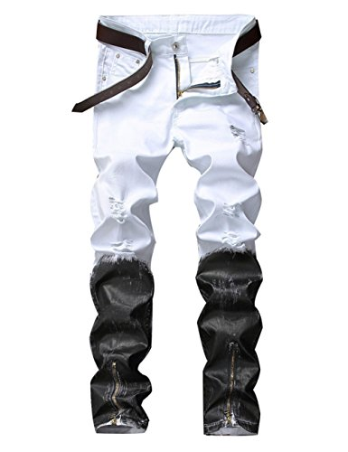 DSDZ Men's Punk Style Ripped Slim Fit Paint Jeans with Bottom Zippers (W32, White)