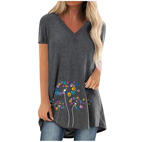 XIAOYUER Plus Size Damen T-Shirt Kurzarm Pullover Mode Print V-Ausschnitt lässig lose Lange Bluse Junges Mädchen Khaki Grau Schwarz Grün Weinrot Sweatshirt S M L XL XXL XXXL XXXXL XXXXXL Tops