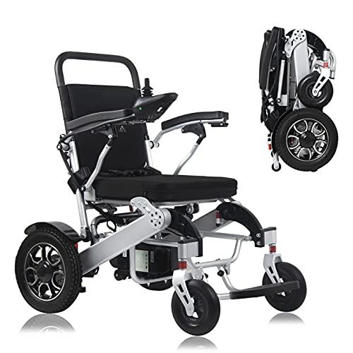 WISGING 2021 Silla de ruedas eléctrica portátil plegable ligera plegable Deluxe Potente motor dual Silla de ruedas compacta con ayuda de movilidad - Pesa solo 59 lbs con batería - Soporta 286 lbs 🔥
