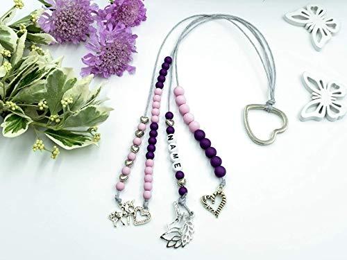 Rechenkette Mädchen candyrosa lila Name, Geschenk 1. Schultag, Einschulung