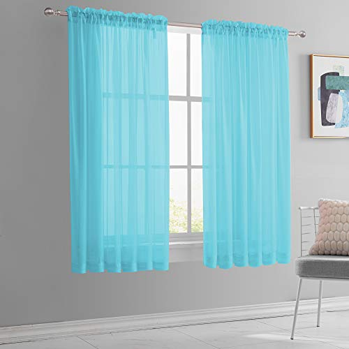KEQIAOSUOCAI 2 Panels Sky Blue Small Sheer Curtains 45 Inches Long for Baby Room Bathroom Rod Pocket Short Sheer Voile Drapes for Kids Boys Gilrs Room Total is 104 Inch Width by 45 Inch Length