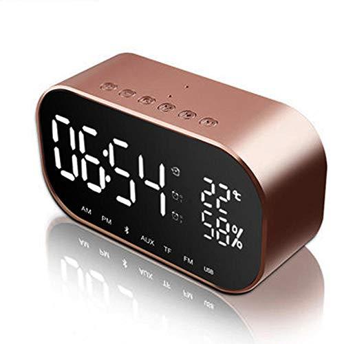 FPRW Digitale led-wekker met FM-radiofunctie, draadloze bluetooth-luidspreker, digitale klokken en intelligente wekker op bed roze goud