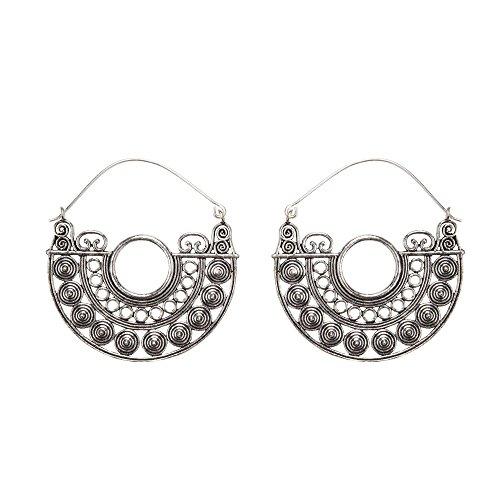 81stgeneration Women's Silver Tone Brass Tribal Disc Aztec Ethnic Semicircle Detailed Boho Earrings
