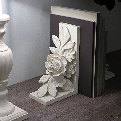 CdCasa Buchstützen-Set, Buchstützen, 2 Stück, Buchständer Landhaus Shabby Chic - Blumen - 9x15x25h - Antik Hell Elfenbein