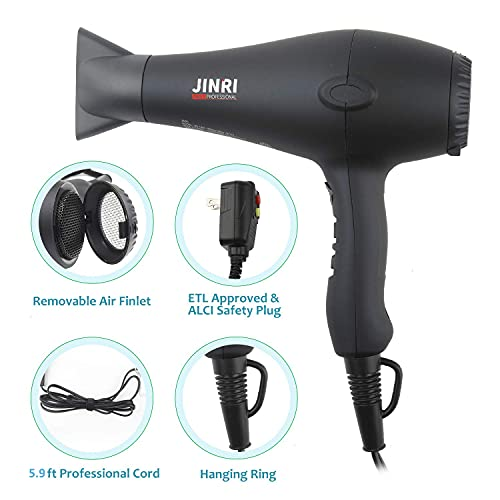 1875w Professional Tourmaline Hair Dryer,Negative Ionic Salon Hair Blow Dryer,DC Motor Light Weight Low Noise Hair Dryers with Diffuser & Concentrator