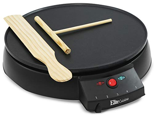Elite Cuisine ECP-126 Electric Crepe Maker and Non-stick Griddle with Spreader, Spatula and Recipes, 12', Black