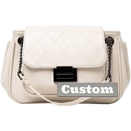 RXDZ - Borsa a tracolla in pelle trapuntata con nome personalizzato per le donne con portafoglio (colore bianco sporco, taglia unica)