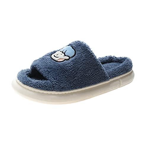 Zapatillas de invierno para interior y exterior,Zapatillas de algodón antideslizantes de suela gruesa, zapatillas de felpa de dibujos animados-azul_42-43,Pantuflas cálidas Pantuflas ligeras y suaves