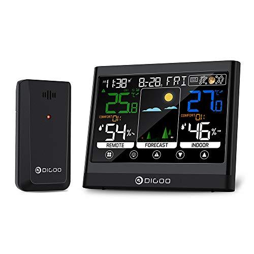 RFElettronica - Wetterstation Digoo DG-TH8622 Touchscreen 3 Kanäle mit Uhr Außensensor Temperatur Luftfeuchtigkeit Vorhersage Wecker