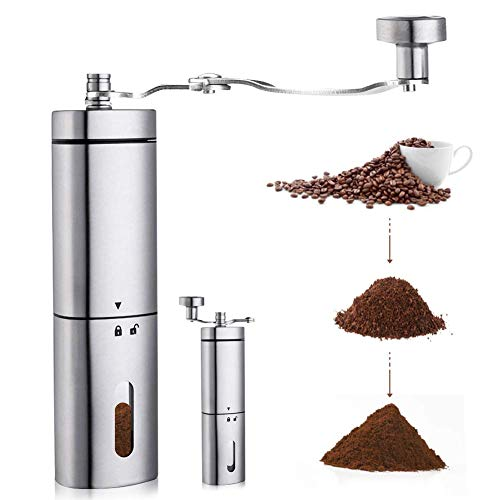 AVNICUD Manual Coffee Grinder, Hand Coffee Grinder with Adjustable Conical Ceramic Burr, Triangular Stainless Steel Mill with Foldable Handle