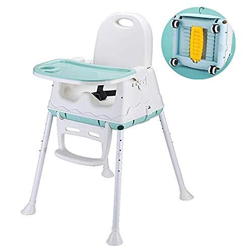Qivor Silla Alta for bebé, Asiento Elevador for niños con Bandeja de alimentación extraíble, cinturón de Seguridad de Tres Puntos (Color : Green, Size : with Wheel)
