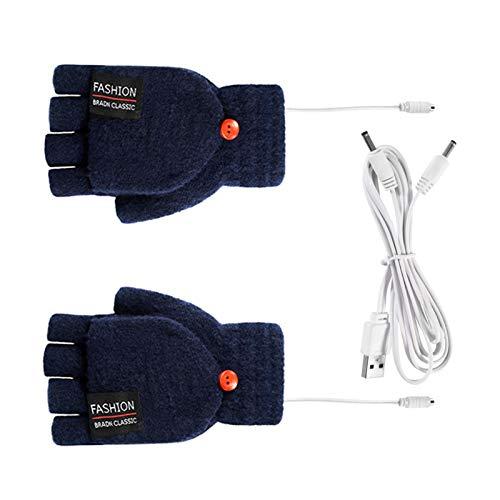 YSISLY 1 par unisex USB-uppvärmda handskar, vintervantar halvfingrar, elektriska värmevantar för kvinnor män flickor studenter artrit (mörkblå)