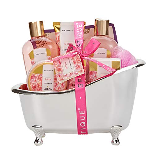 spa luxetique Spa Gift Baskets for Women, Rose Gift Baskets for Women, Luxurious 8pc Bath Set, Home...
