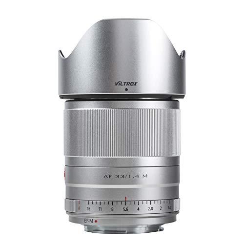 VILTROX AF 33mm F1.4 Objetivo Messa a Fuoco Automatica per Fotocamere Canon M Monte(APS-C, apertura regolabile f1,4-f16), Argento