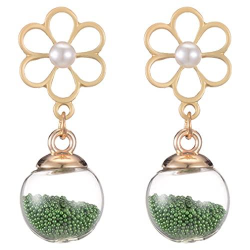 Uniquelove Pendientes Cinta Simple De Doble Cara Perlas De Arroz Verde Pendientes De Bola De Cristal Pendientes De Copo De Nieve De Perlas De Oro Rosa - Verde