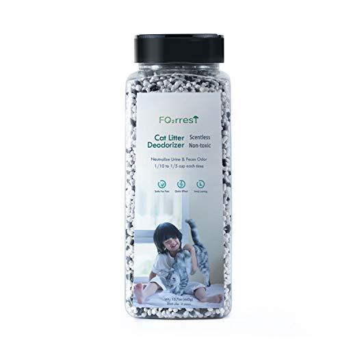 FO2RREST Natürlicher Nicht parfümierter Katzenstreuerfrischer,aktiviertes Siliziummaterial Antibakterieller Katzenstreu-Deodorant,445g