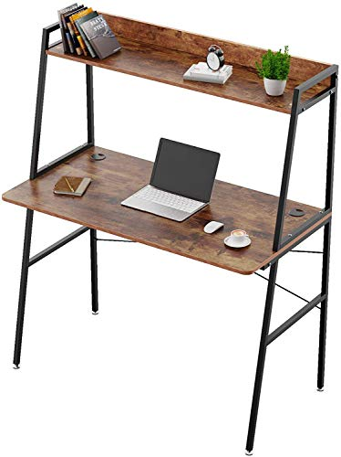 AngLink Computer Desk with Shelves, 43 inch Office Desk with Hutch and Bookshelf, Home Office Desk with Space Saving Design, Brown