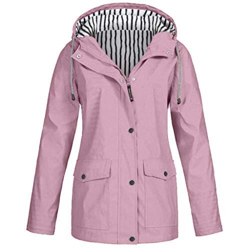 Yowablo Damen Bequem Mantel Lässig Mode Jacke Frauen Feste Regenjacke im Freien Plus wasserdichter mit Kapuze Regenmantel Winddicht (3XL,4- Wassermelonenrot)
