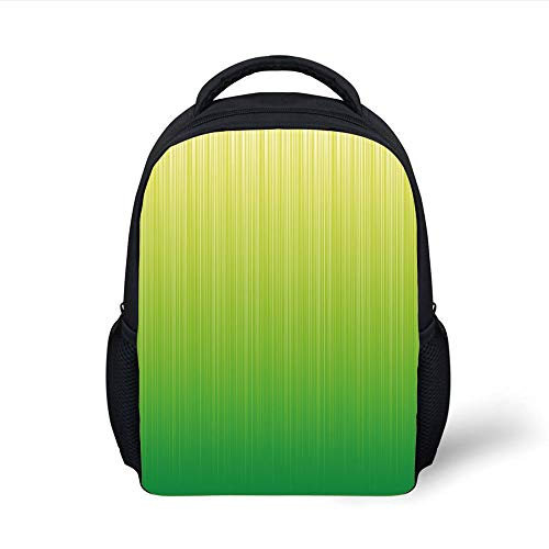 Kids School Backpack Lime Green,Pin Striped Digital Background Highlight Lines Abstract Style Futuristic Print Decorative,Pale Green Plain Bookbag Travel Daypack