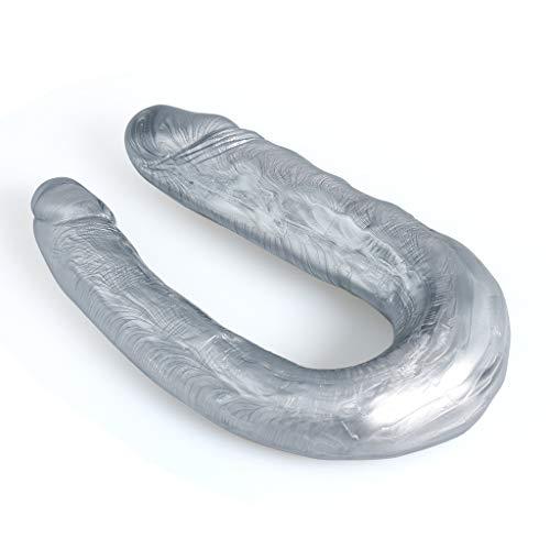 SBBBYJ Multifunctional Toys Huge Long Waterproof Double Head Dîldɔ 10Inches Lifelike Double Headed Ðîl`dɔ Waterproof Flexible Double Sided Penî's Wand (Silver) Best Gift