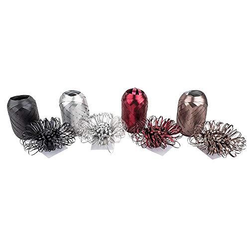 Geschenkband- & Schleifen-Mix | metallic | je 4 Schleifen à Ø 7 cm & 4 Geschenkbänder à 10 m | silber, taupe, schwarz, rot