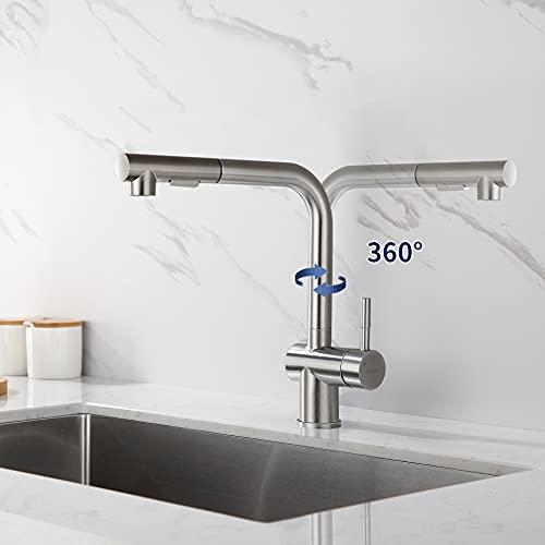 Lonheo Ausziehbar Hockdruck Küchenarmatur L-Form 360° Drehbar, Wasserhahn Küche mit 2 Strahlarten, Mischbatterie aus Edelstahl SUS304, Spültischarmatur Einhebelmischer